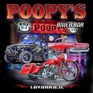 T-SHIRT-POOPYS JEEP BAR-BLUE